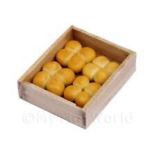 Dolls House Miniature Bread Rolls In A Bakers Tray