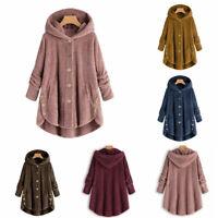 Women Winter Warm Fluffy Coat Jacket Tops Outwear Loose Sweater Overcoat Button