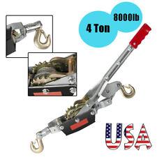 4 Ton 8000lb Winch Hoist Ratcheting Hand Puller Cable Crane Pulling 2hooks Lift