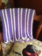Handmade Crochet Lapghan Purple And Cream Scallop Stripe Vintage? Preowned Afgha