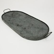 "Vtg Galvanized 18"" Oval Heavy Duty Trivet Baking Stone Serving Tray Pad Handles"