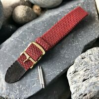 16mm Red & Black Perlon Mesh 1-Piece Military 1960s Vintage Watch Band nos ylo