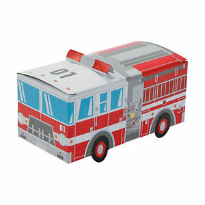 Fire Truck Favor Boxes - Birthday Party Supplies - Decorations - 12 Pieces