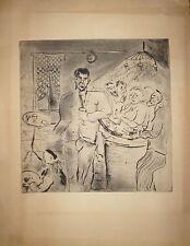 Gen Paul Gravure originale signée scène de café à montmartre comptoir