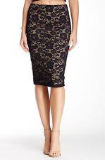 NEW Designer David Lerner Lace Pencil Skirt Fitted Black/Nude Sz M Sexy Fem $170
