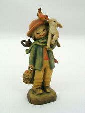 "Anri Ferrandiz 3"" Wooden Figurine Friendship Boy w/ Basket Umbrella Lamb & Bird"