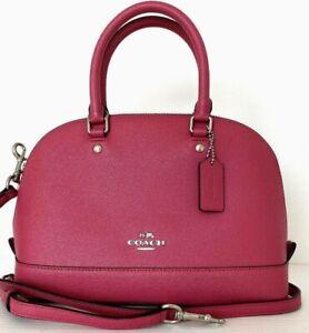 New Coach F57555 mini Sierra Satchel Crossgrain Leather handbag Magenta