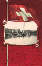 Geneva,Switzerland,Vignette of Lake,Swiss Flag Border,Canton Geneva,Used,1902