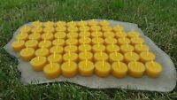 60 Hand Poured Beeswax Tealight Candles, All-natural Cotton Wick, Clear Cups