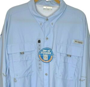 Columbia PFG Omni-shade Men's 3X Sail Blue Vented Fishing Shirt Roll Sleeve NWT