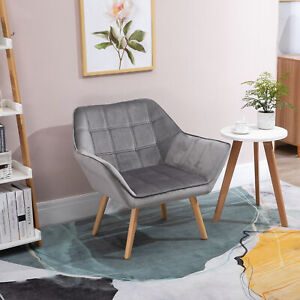 HOMCOM Luxe Velvet-Feel Accent Chair w/ Wide Arms Slanted Back Wood Legs Grey