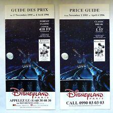 RARE GUIDE DES PRIX DISNEYLAND PARIS 1995 / SPACE MOUNTAIN / FRANCAIS ET ANGLAIS