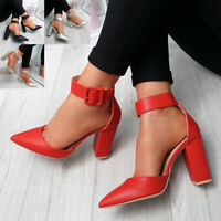 WOMENS LADIES ANKLE STRAP HIGH BLOCK HEEL PUMPS PARTY SHOES SIZE UK 3-8