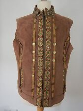 Vintage Womens Brown Leather Suede Asian Long Gilet Waistcoat Size UK 20