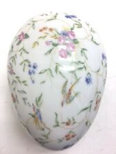 G. Boyer Limoges Lrg Hand Painted Multi Floral+Birds Scene Egg ShapeTrinket Box