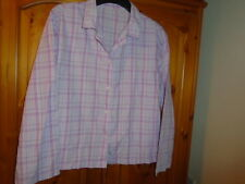 Lilac and pink check long sleeve button fastening pyjama top, size 12-14