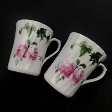 Pair of 2 Allyn Nelson fine bone china coffee tea cup mugs ivy roses England