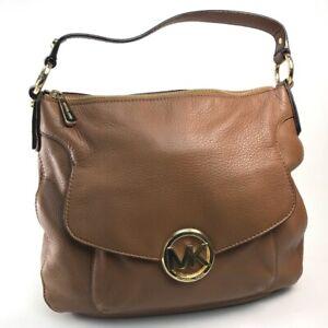 MICHAEL KORS logo Hand Bag Shoulder Bag Leather Brown GoldHardware