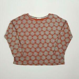 WHITE STUFF Womens Long Sleeve Top M Orange Abstract Flower Dot Textured Cotton