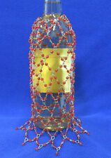 Beaded Wine Bottle Cover Jewelry Skirt Silver Tone With Coral Pink Beads