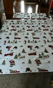 St.Nicholas Square Holiday Full/Queen Quilt/2 Shams SANTA/RED TRUCK 100% Cotton