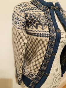 Dale Of Norway Wool Blue & White Cardigan size 36