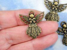 6 Detailed Angel Charms Antique Bronze Tone Pendants #P1722