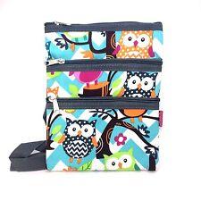 Chevron Owl Print  NGIL Cross Body Messenger Small  Hipster  bag