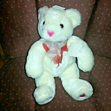 Commonwealth Valentines Day White Teddy Bear '02 10in Plush Pink Heart Nose Pads