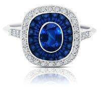 Oval Blue Sapphire Diamond Platinum Cushion Halo Ring Art Deco Cocktail Natural