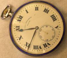 Paul Ditisheim Solvil Pocket Watch open face silver & enamel case enamel dial