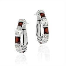 925 Silver Red & White CZ Hoop Earrings