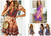 Women/LadiesSakter Swing Dress Retro Boho Floral V Neck Mini Dress Summer Beach