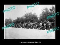 OLD LARGE HISTORIC TRACTOR PHOTO, A LINE UP OF FIAT TRACTORS IN ADELIADE c1930