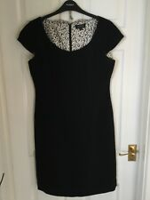 Tahari Black Cap Manches Doublé Shift Robe Taille US 8 (UK 14)