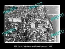 OLD LARGE HISTORIC PHOTO BLOIS LOIR ET CHER FRANCE, AERIAL VIEW OF TOWN c1920 3
