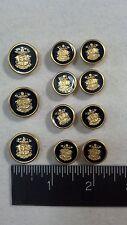 WATERBURY Men Metal BLAZER/JACKET BUTTON SET CrShM SB 3&8 Gold/Navy Enamel/Epoxy