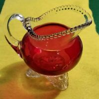 """1901 BUFFALO PAN AMERICAN EXPO RUBY 3 FOOTED CREAMER ETCHED """"TO MOTHER 1901"""""""