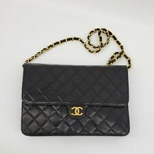 CHANEL Classic Vintage CC WOC Black Quilted Single Flap Small Bag Clutch 07134