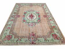 "9' 11"" x 6'6"" Vintage green apricot red faded oushak  rug carpet art deco retro"