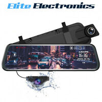 """AZDOME 10"""" Mirror IPS Touch Screen 1080P Front & Rear Dash Cam HD Night Vision"""