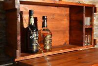 Mobile Bar Porta Bottiglie da muro Vintage in Legno color Noce per Vino Liquori