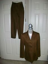 Women's Jones New York linen brown Jacket Pant Suit Size 4 MINT