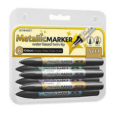 Letraset Metallic Promarkers - Set 1 - 6 x Metallic Colour Promarker Markers
