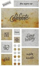 ~ METAL Birthday Captions Rustic Look Celebrate Grossman Stickers SALE PRICE ~