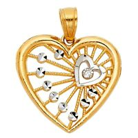 14K Solid Two-Tone Rose & Yellow Gold Heart Charm Pendant 1.1 grams Jewelry
