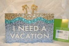 NWT New Kate Spade I Need A Vacation Clutch - Gold blue Glitter, Palm Tree clasp