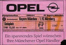 Ticket BL 90/91 FC Bayern München - 1. FC Nürnberg, Stehplatz