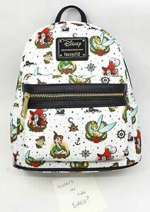 Loungefly Disney TATTOO PETER PAN TINKERBELL HOOK CROC Mini Backpack BNWT