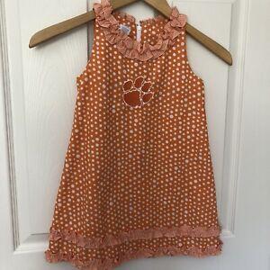 Vive La Fete girls dress, Clemson, size 4, Orange w/white dots, Great Condition!